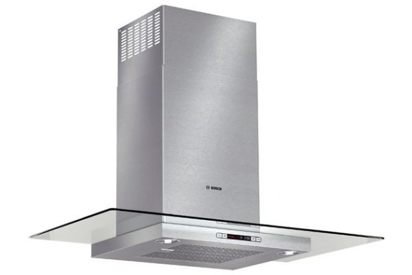 """Large image of Bosch 36"""" Stainless Steel Benchmark Series Glass Canopy Chimney Hood - HCG56651UC"""