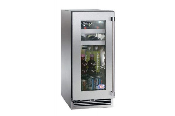 "Large image of Perlick 15"" Signature Series Stainless Steel Glass Door Left-Hinge Indoor Beverage Center - HP15BS-3-3L"