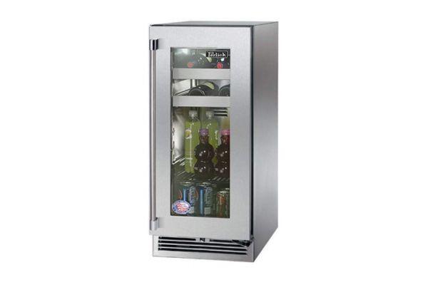 "Perlick Signature Series 15"" Stainless Steel Glass Door Right Hinged Indoor Beverage Center - HP15BS-3-3R"