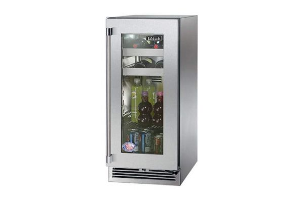 "Large image of Perlick 15"" Signature Series Stainless Steel Glass Door Right-Hinge Indoor Beverage Center - HP15BS-3-3R"