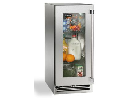 "Perlick 15"" Stainless Steel Glass Door Signature Series Outdoor Refrigerator  - HP15RO-3-3L"