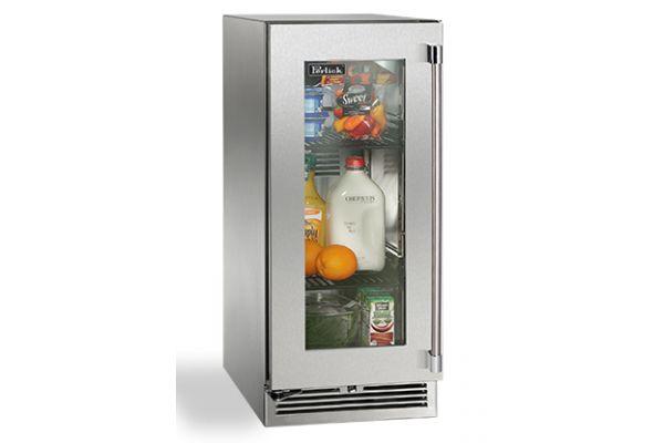 """Perlick 15"""" Stainless Steel Glass Door Signature Series Outdoor Refrigerator  - HP15RO-3-3L"""