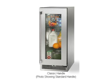 "Perlick 15"" Stainless Steel Glass Door Signature Series Outdoor Refrigerator - HP15RO-3-3RC - HP15RO-3-3RC"