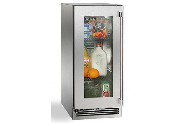"""Perlick 15"""" Stainless Steel Glass Door Signature Series Indoor Refrigerator  - HP15RS-3-3L"""