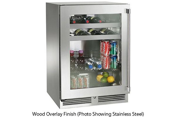 """Perlick 24"""" Wood Overlay Signature Series Indoor Beverage Center - HP24BS-3-4L"""