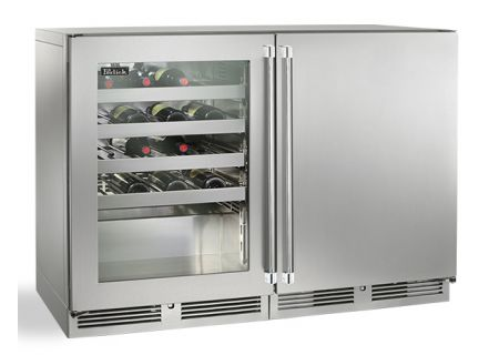 """Perlick 48"""" Stainless Steel And Glass Door Signature Series Wine Reserve  - HP48WW-S-3-1L-3R"""