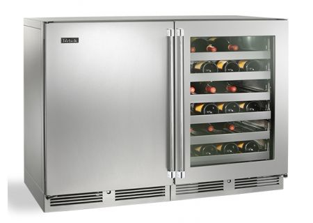 """Perlick 48"""" Stainless Steel And Glass Door Signature Series Wine Reserve  - HP48WW-S-3-3L-1R"""