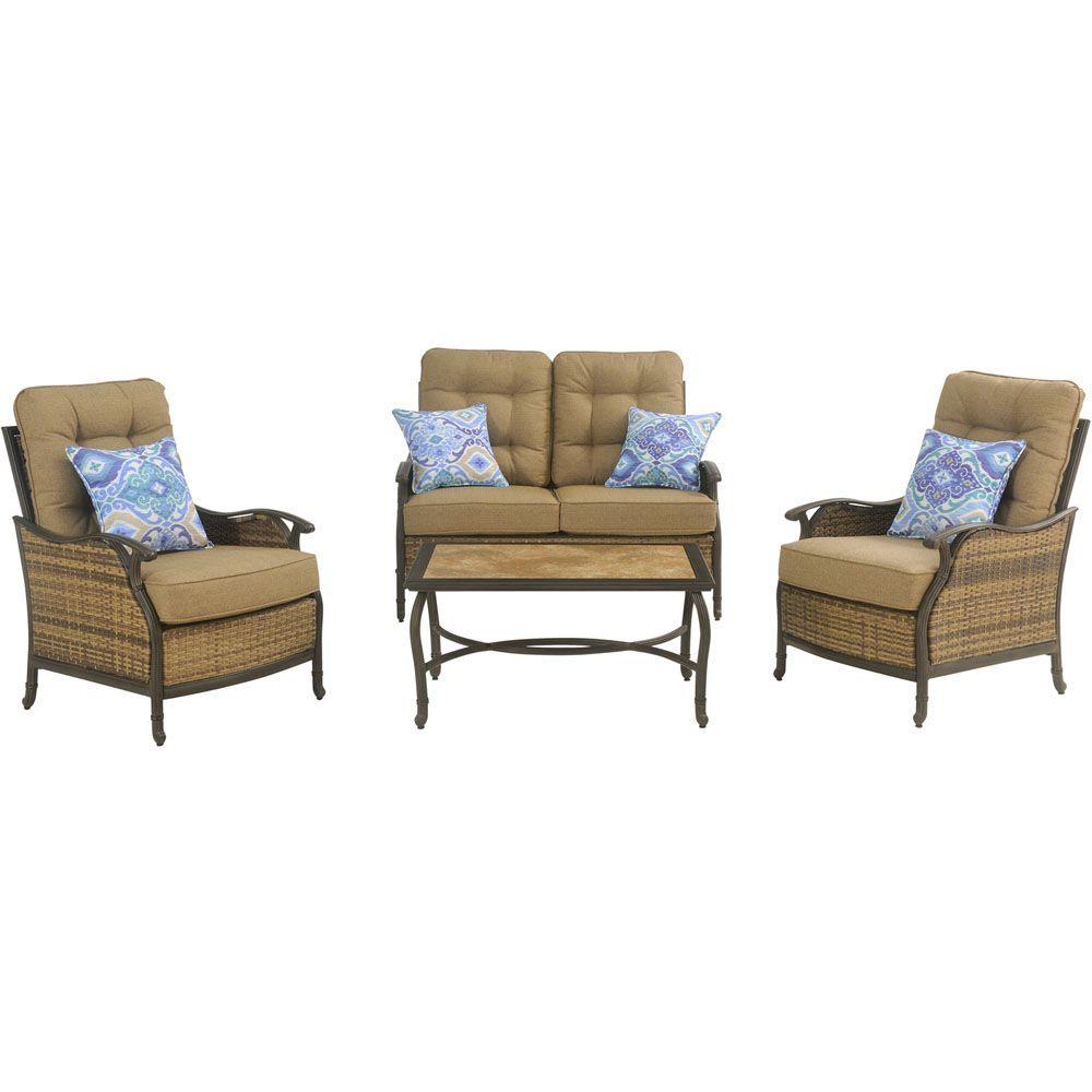 Hanover hudson 4 piece deep seating set hudsonsq4pc for Outdoor furniture big w
