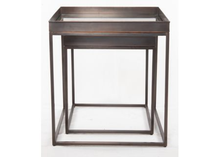 Four Hands Asher Collection Set of 2 Bronze Nesting Nighstands - IASR-044A