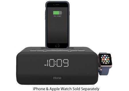 iHome Black Bluetooth FM Stereo Dual Alarm Clock Radio - IPLWBT5B