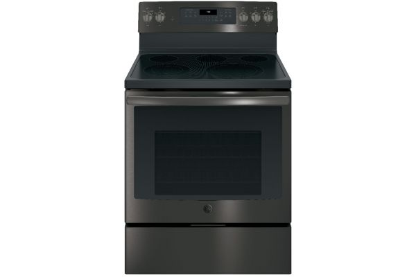 "GE Profile 30"" Black Stainless Steel Electric Convection Range - JB750BJTS"