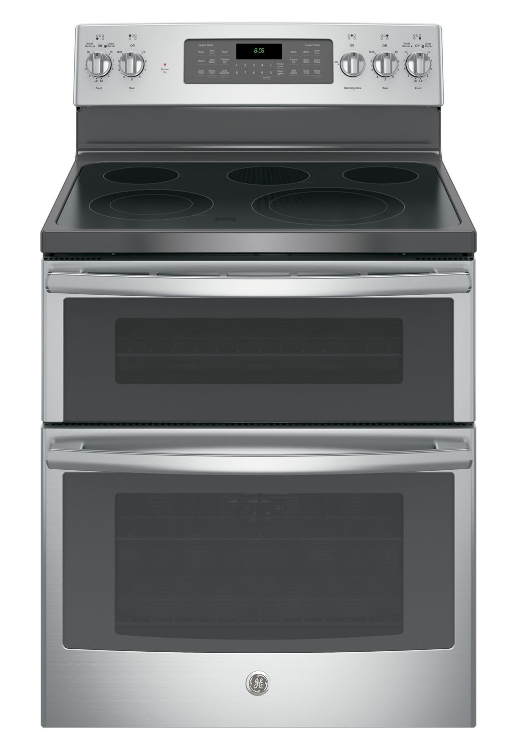 steel free standing electric double oven convection range jb860sjss