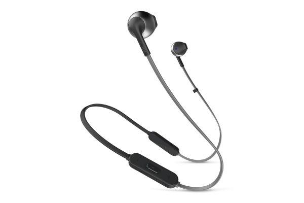 Large image of JBL Tune 205BT Black Wireless Earbud Headphones - JBLT205BTBLKAM