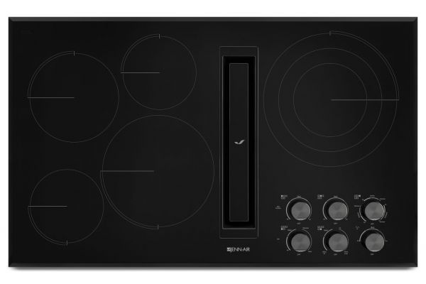 "Large image of JennAir 36"" JX3 Black Electric Cooktop With Downdraft - JED3536GB"