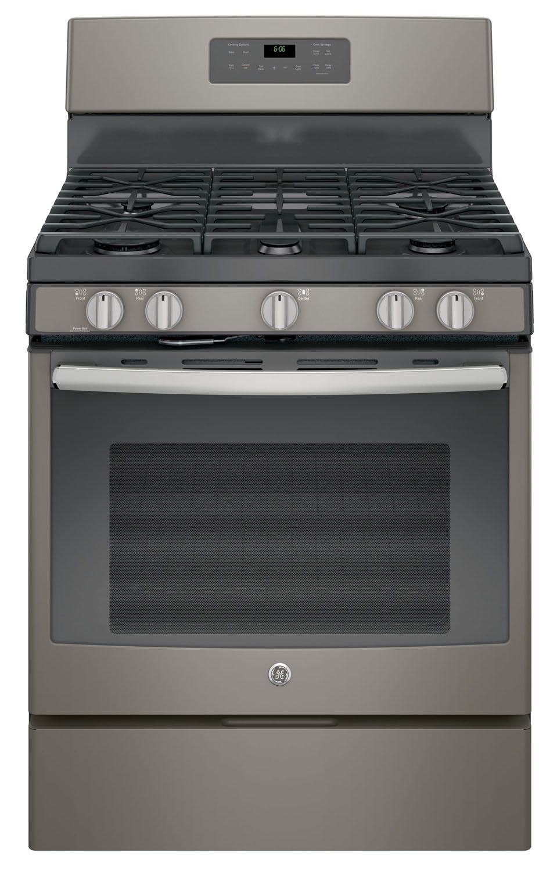 Ge 30 slate free standing gas range jgb660eejes for Abt appliances