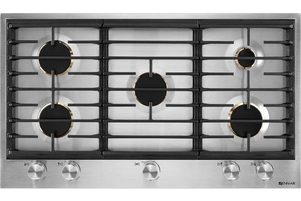 """Large image of JennAir Euro-Style 36"""" Stainless Steel 5-Burner Gas Cooktop - JGC3536GS"""