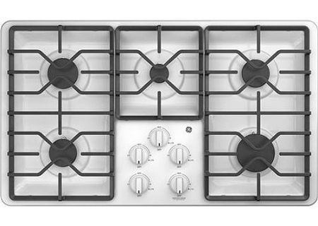 "GE 36"" White Gas Cooktop - JGP3036DLWW"