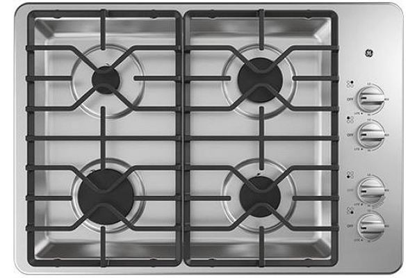 """Large image of GE 30"""" Stainless Steel Gas Cooktop - JGP3530SLSS"""