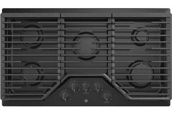 """Large image of GE 36"""" Black Gas Cooktop - JGP5036DLBB"""