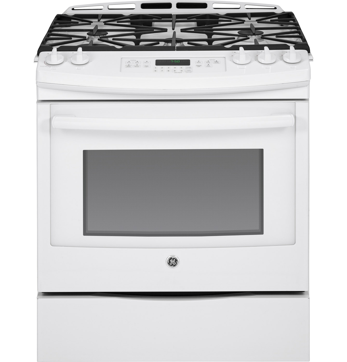 "GE 30"" White Slide-In Convection Gas Range - JGS750DEFWW"