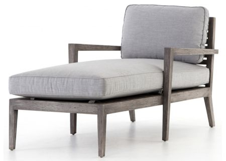 Four Hands Grass Roots Collection Weathered Grey Teak And Canvas Graphite Laurent Outdoor Chaise - JLAN-172-108