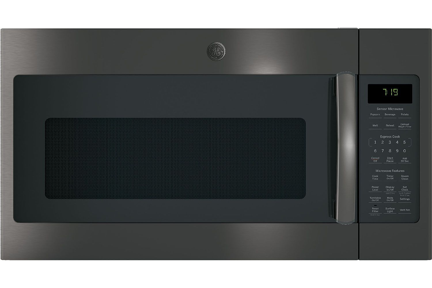 Ge 1 9 Cu Ft Black Stainless Steel Over The Range Microwave Oven