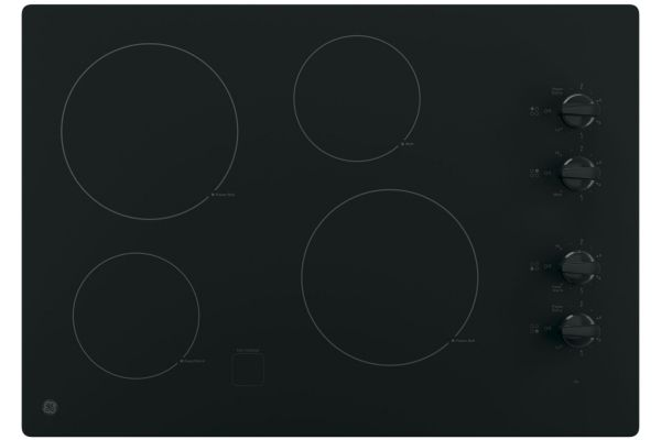"Large image of GE 30"" Black Electric Cooktop - JP3030DJBB"
