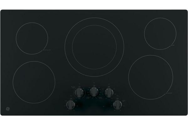 "Large image of GE 36"" Black Electric Cooktop - JP3036DLBB"