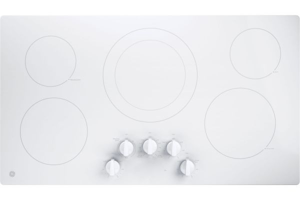 """Large image of GE 36"""" White Electric Cooktop - JP3036TLWW"""