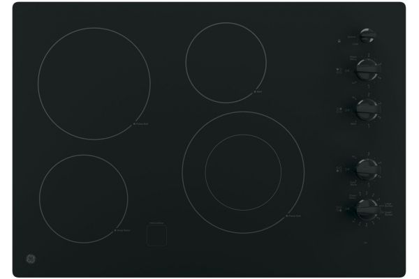"Large image of GE 30"" Black Electric Cooktop - JP3530DJBB"