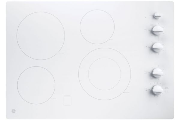 """Large image of GE 30"""" White Electric Cooktop - JP3530TJWW"""