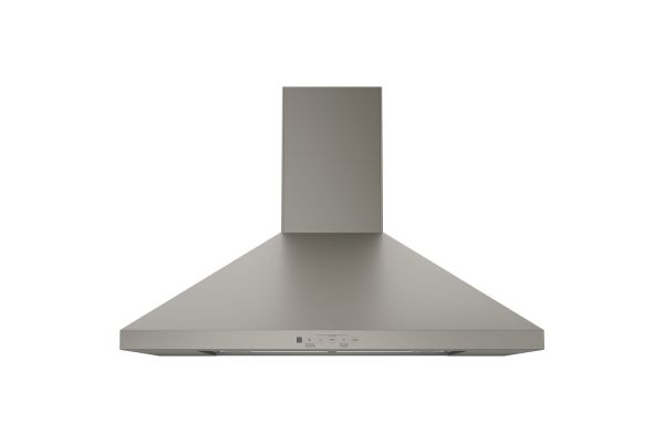 "Large image of GE 30"" Slate Wall-Mount Pyramid Chimney Hood - JVW5301EJES"