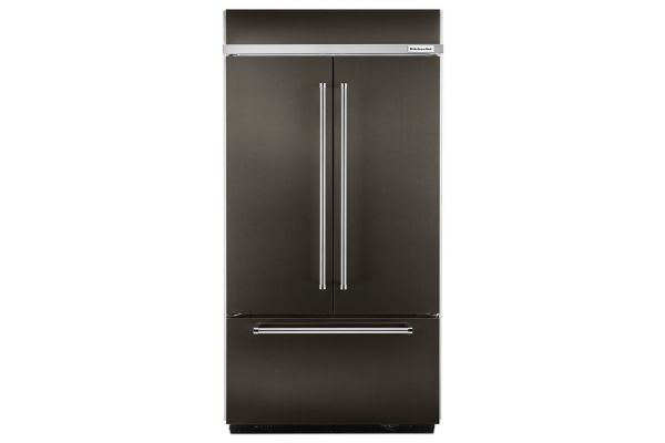 "KitchenAid 42"" Built-In Black Stainless Steel French Door Refrigerator With Platinum Interior Design - KBFN502EBS"