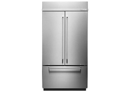 "KitchenAid 42"" Built-In Stainless Steel French Door Refrigerator With Platinum Interior Design - KBFN502ESS"