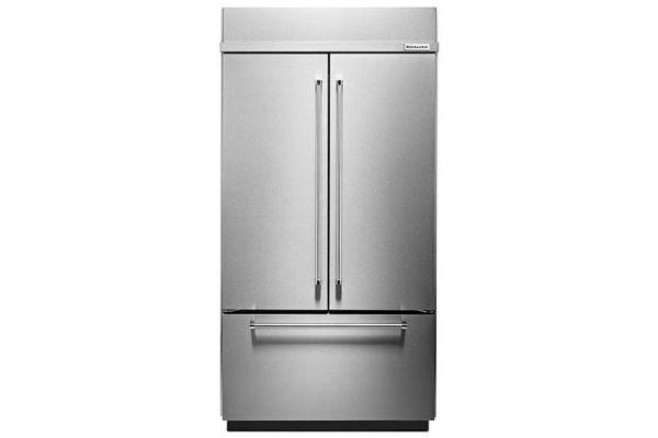 """KitchenAid 42"""" Built-In Stainless Steel French Door Refrigerator With Platinum Interior Design - KBFN502ESS"""