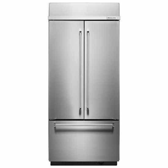 Kitchenaid 36 In W 25 8 Cu Ft French Door Refrigerator: KitchenAid 20.8 Cu. Ft. Built-In Refrigerator -KBFN506ESS
