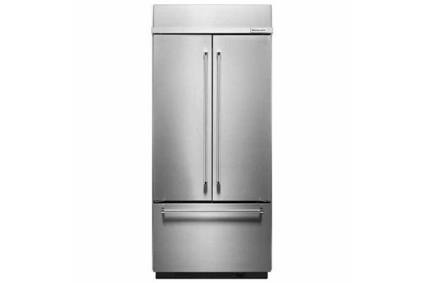 Large image of KitchenAid 20.8 Cu. Ft. Stainless Steel Built-In French Door Refrigerator - KBFN506ESS