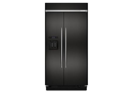 "KitchenAid 48"" Black Stainless Steel Built-In Side-By-Side Refrigerator - KBSD608EBS"