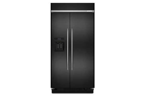 """KitchenAid 48"""" Black Stainless Steel Built-In Side-By-Side Refrigerator - KBSD608EBS"""