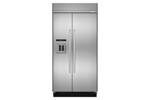Large image of KitchenAid 29.5 Cu. Ft. PrintShield Stainless Steel Built-In Side-By-Side Refrigerator - KBSD608ESS