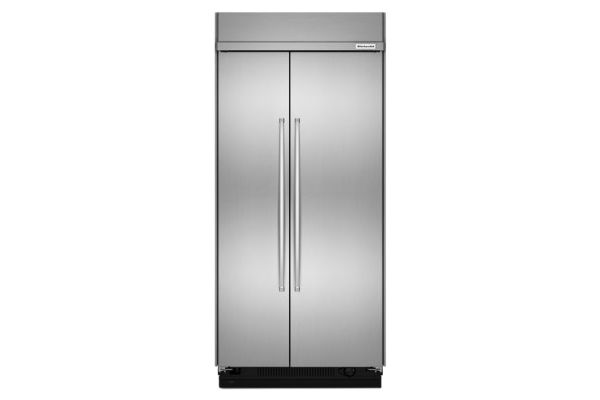"""Large image of KitchenAid 42"""" Stainless Steel Built-In Side-By-Side 25.5 Cu. Ft. Refrigerator  - KBSN602ESS"""