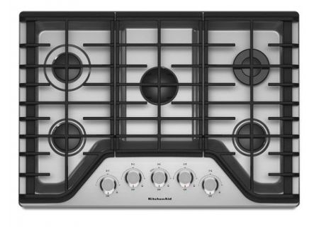 "KitchenAid 30"" Stainless Steel 5-Burner Gas Cooktop  - KCGS350ESS"