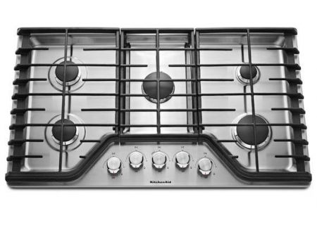 "KitchenAid 36"" Stainless Steel 5-Burner Gas Cooktop  - KCGS356ESS"