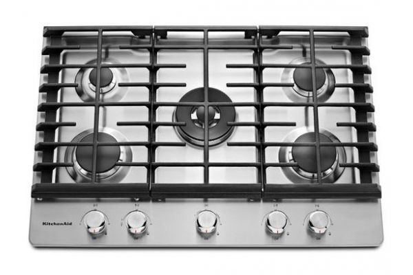 """Large image of KitchenAid 30"""" Stainless Steel 5-Burner Gas Cooktop - KCGS550ESS"""