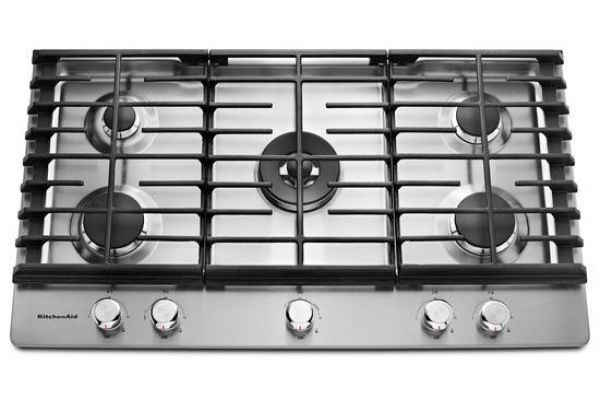 """Large image of KitchenAid 36"""" Stainless Steel 5-Burner Gas Cooktop  - KCGS556ESS"""