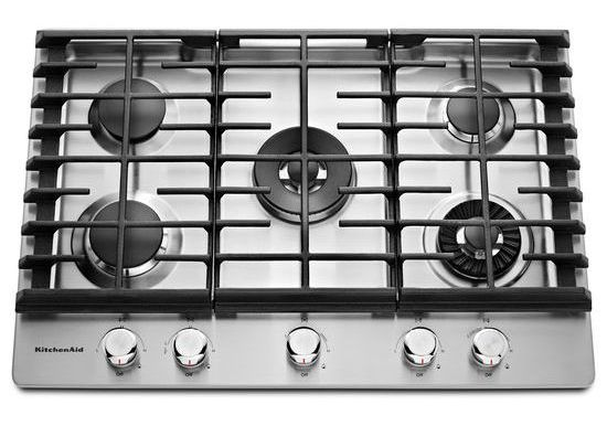 Kitchenaid 30 Stainless Steel 5 Burner Gas Cooktop With Griddle Kcgs950ess