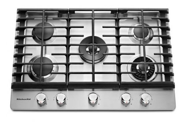 """KitchenAid 30"""" Stainless Steel 5-Burner Gas Cooktop With Griddle  - KCGS950ESS"""