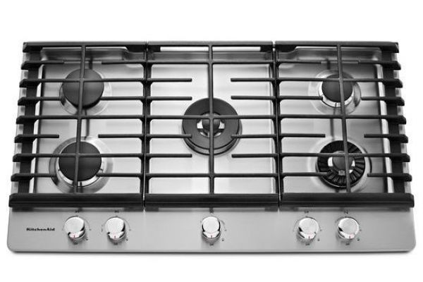 "KitchenAid 36"" Stainless Steel 5-Burner Gas Cooktop  - KCGS956ESS"