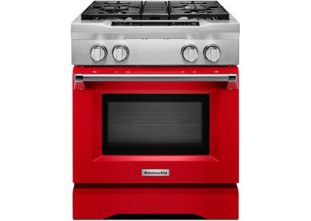 "KitchenAid 30"" Signature Red Dual Fuel Freestanding Range - KDRS407VSD"