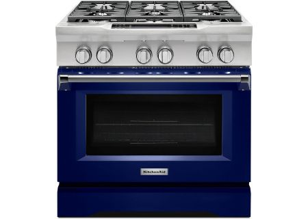 "KitchenAid 36"" Cobalt Blue Dual Fuel Slide-In Range - KDRS467VBU"